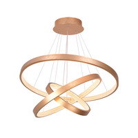Modern LED Pendant Light Wire Drawing Gold Hanging Lamp for Living Room Dining Room Shiny Ring Acrylic