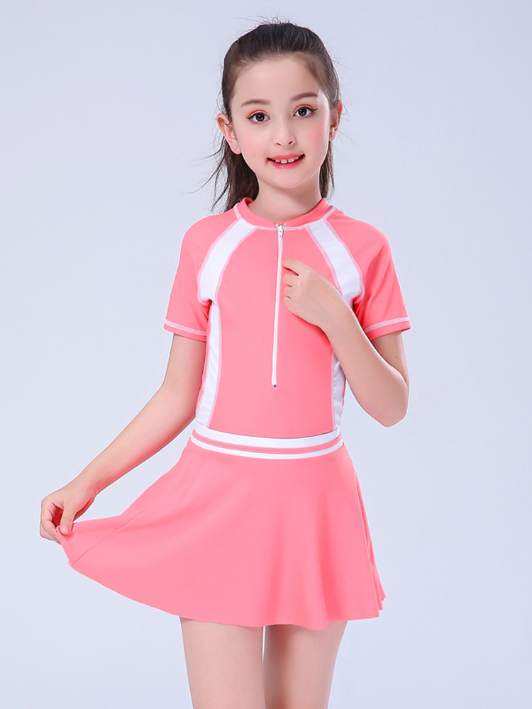 Children Profession Bathing Suit Girls One-piece In Big Kid Swimwear With Chest Pad Big Kid Plus-sized Students GIRL'S Tour GIRL