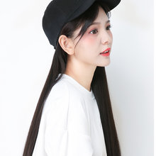 Baseball Cap with Synthetic Hair Extension Long Hair Wig Hat for Women Hair Care StylingEY669(China)