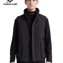Pioneer Camp Winter Mens Down Vest brand-clothing Warm Solid Black Whi