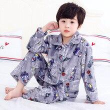 Warmed for winter Pijamas Kids Flannel Pijama set Baby boy girl Cartoon printing Pajamas Children sleepwear Infant pajamas 2 12y