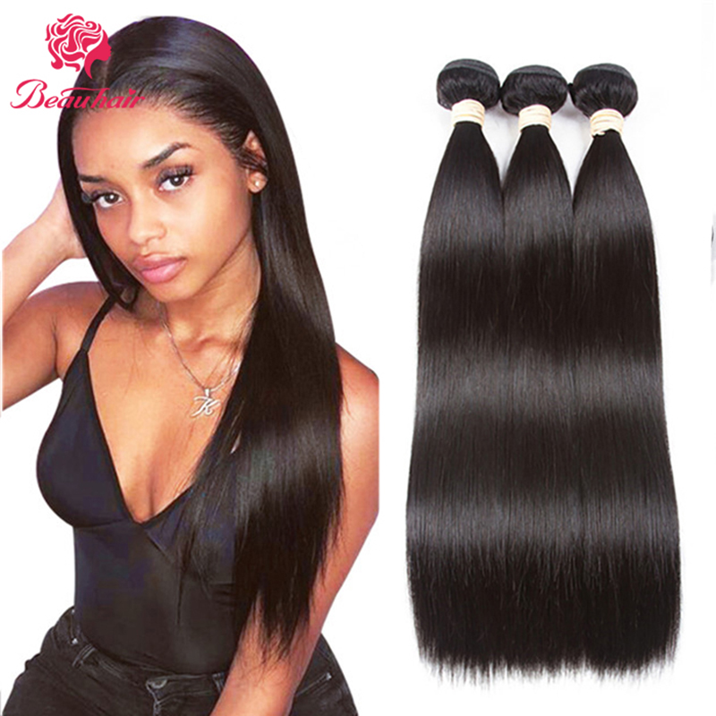 Brazilian Straight Bundles Double Weft Human Hair Extensions  Beau Hair Bundles 100±5 Gram Brazilian Human Hair For Black Women