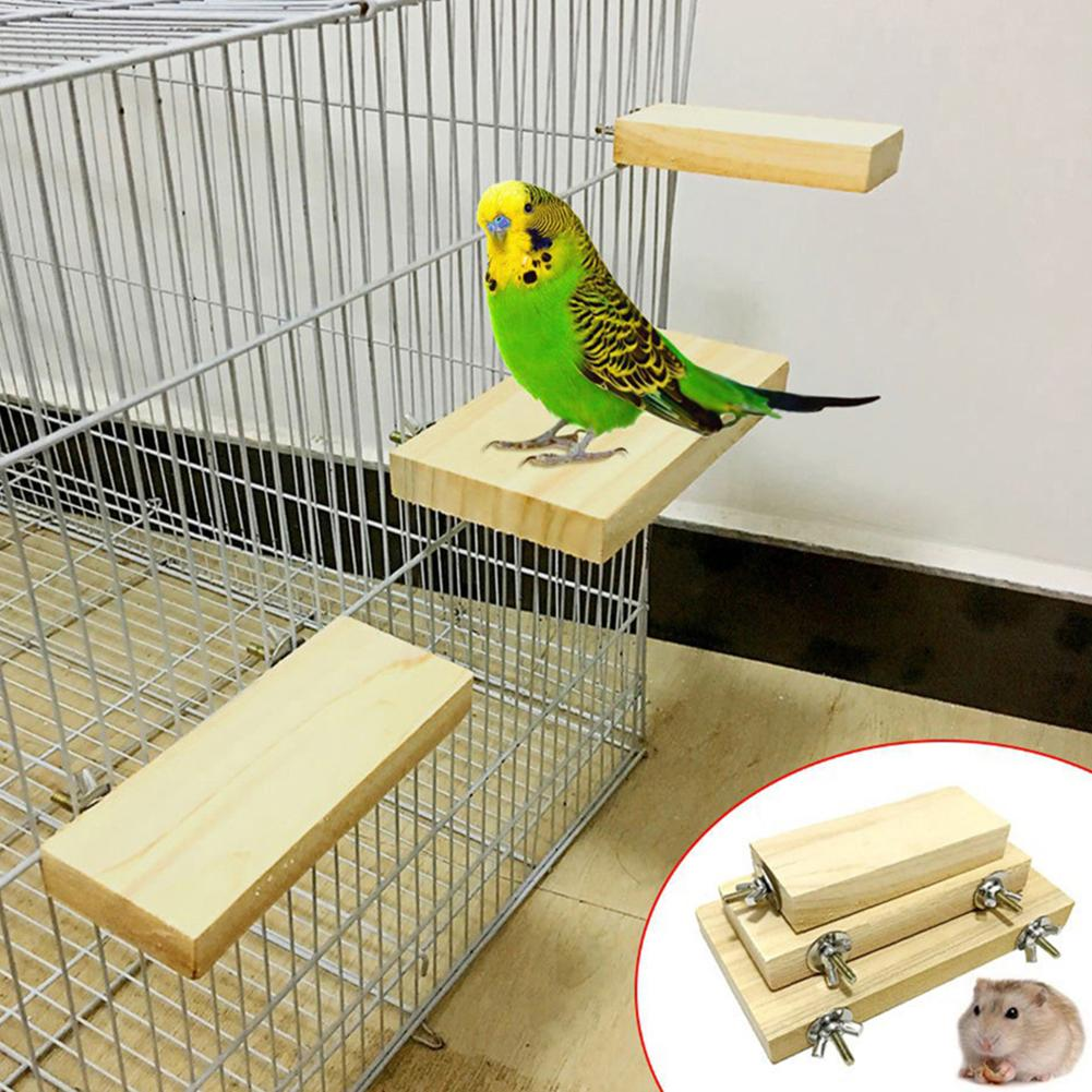 Pet Bird Parrot Wood Stand Perch Platform Hanging Cage Decor Paw Grinding Toy