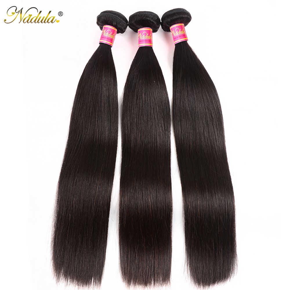 Cabello Nadula 8-28 pulgadas extensiones de cabello recto Natural brasileño Color 3/4 mechones 100% cabello humano virgen