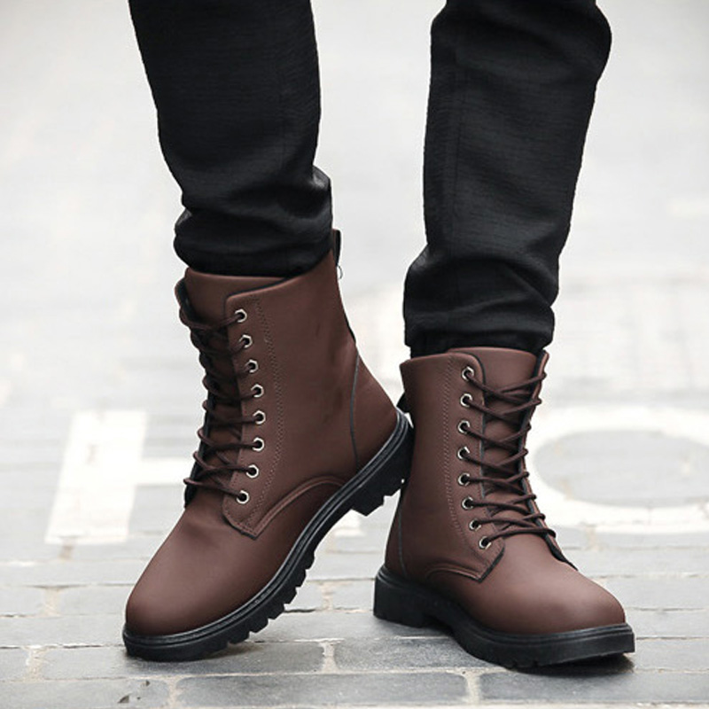 Mens Genuine  Leather Ankle Martin Combat Boots Flat Lace Up Casual Shoes