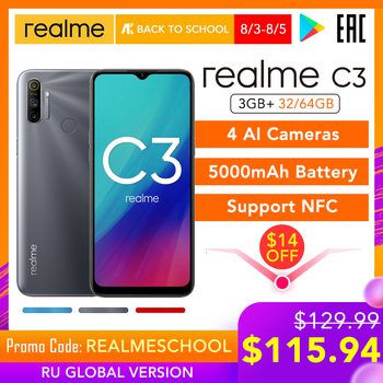 Перейти на Алиэкспресс и купить Realme C3 глобальная версия 3 ГБ ОЗУ 32 ГБ/64 Гб ПЗУ 5000 мАч батарея Helio G70 AI процессор 12MP + 2MP + 2MP AI 3 задние камеры Play Store