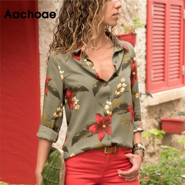 Aachoae Womens Tops and Blouses 2020 Summer Floral Print Blouse Long Sleeve Turn Down Collar Office Shirt Blusas Mujer Plus Size