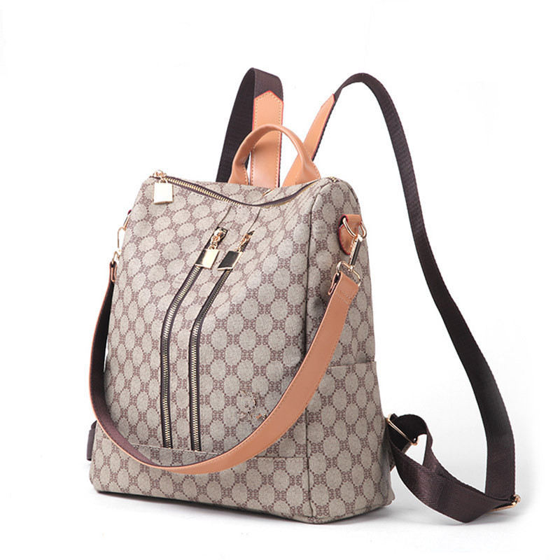 Backpack Woman PU Leather Anti-Theft Design Lattice Print Bag For Girls Khaki Color