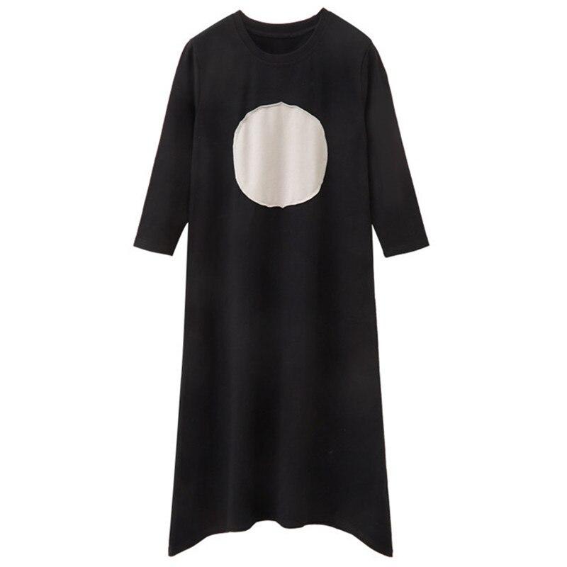 4 To 14 Years Kids & Teenager Girls Spring Summer Circle Print Three Quarter Sleeve Cotton Casual Flare Dress Irregular  Dresses