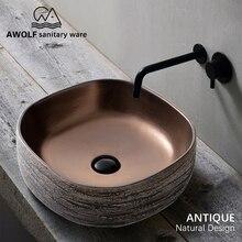 Умывальник для раковины, умывальник для ванной комнаты, керамический сосуд, старинный квадратный камень, дизайн над столешницей, раковина для балкона AM920