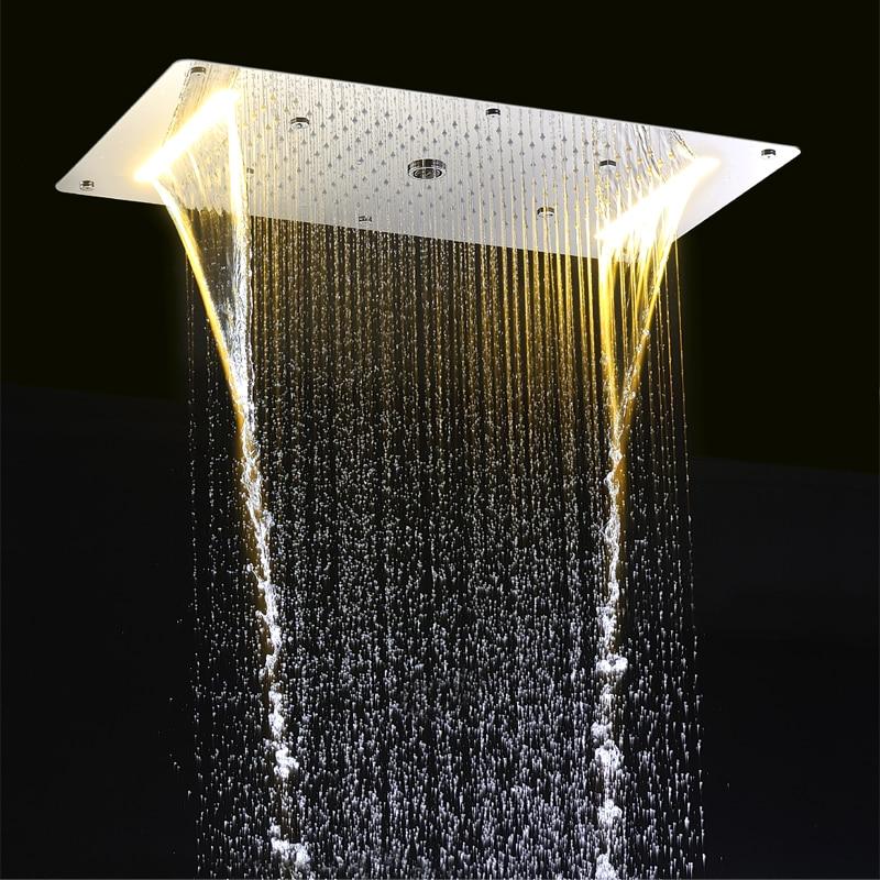 Modern LED Ceiling Shower Head Embedded Massage Rainfall Waterfall Shower Faucet Bathroom Accessories Big Shower Panel 700*380mm