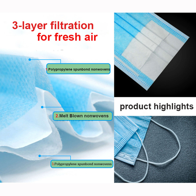 Face Mouth Anti Dust Mask Disposable Protect 3 Layers Filter Masks (not KN95 ) Mouth-muffle Bacteria Proof Flu Mask 1