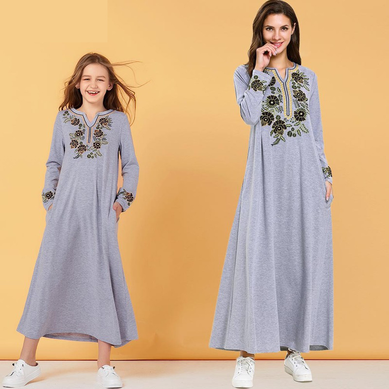 Long Sleeve Embroidery With Pockets Casual Girls Dresses Muslim Style Casual Long Dress Mom Girl Matching Outfit