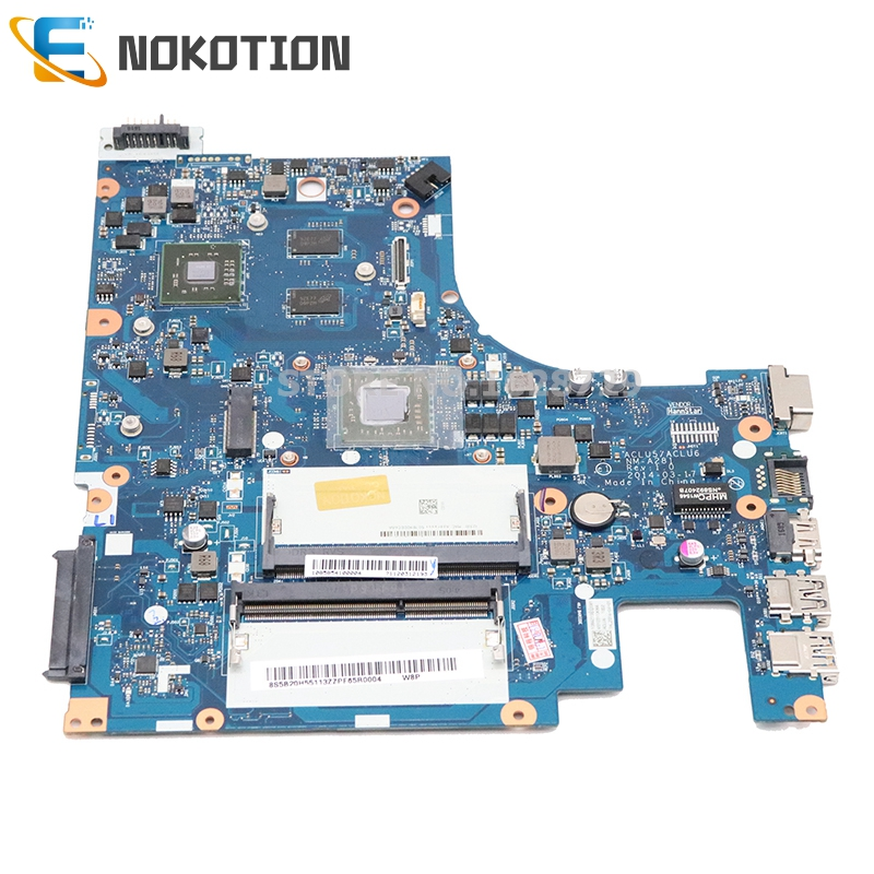 NOKOTION NEW ACLU5 ACLU6 NM-A281 5B20H55113 For Lenovo IdeaPad G50-45 Laptop Motherboard 15 Inch A8-6410 CPU  GPU ONBOARD