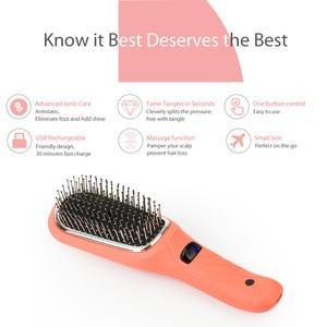 Image 4 - Saç Diva pil işletilen iyonik saç fırçası titreşimli masaj saç çıkma fırçası Mini saç düzleştirici fırça USB