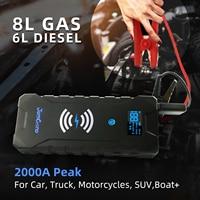 Starthilfe 2000A Spitzen 22000mAh Jomgand (bis zu 8,0 L Gas,6L Diesel Motor) 12V Auto Batterie Booster Pack mit Drahtlose Ladegerät