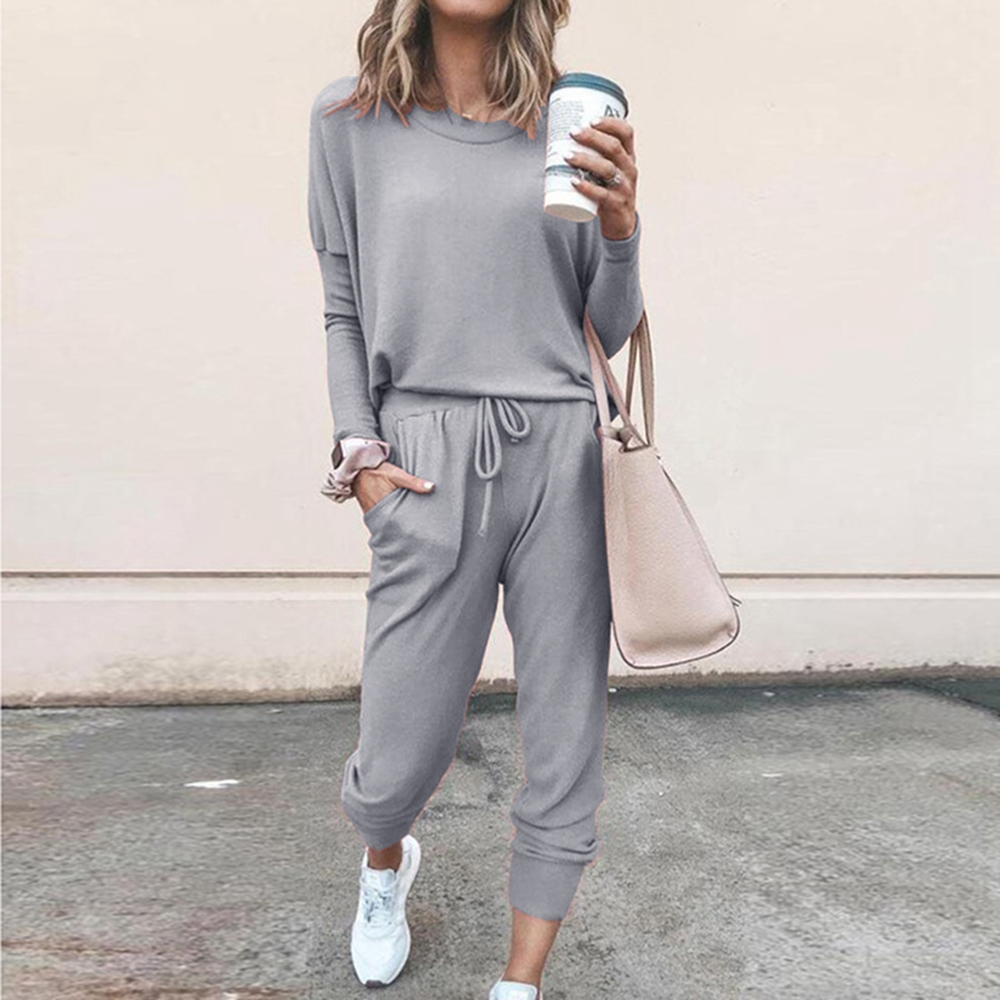 Women Suit Track Costume 2 Pieces Sets 2019 Autumn Winter O Neck Pullovers And Long Trackpants Solid Women Tracksuits Lady