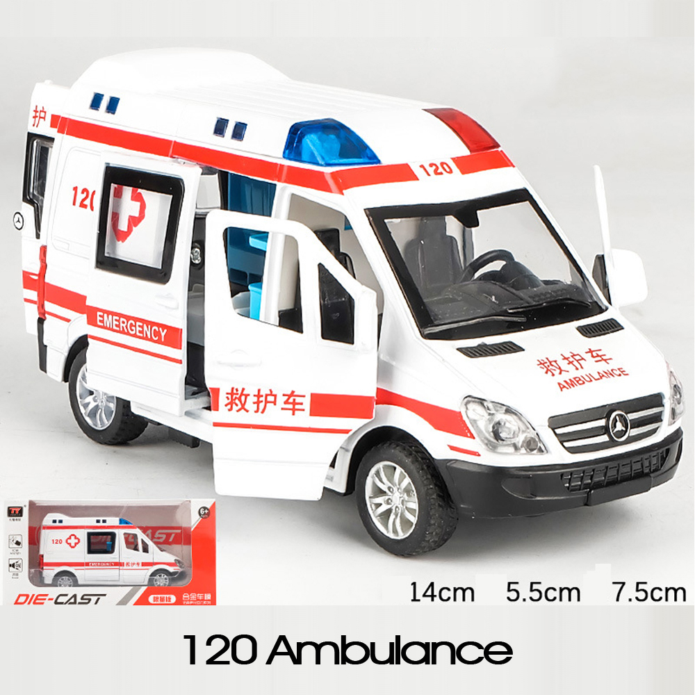 1:32 Hospital Rescue Ambulance Car Police Cars Model Pull Back Sound And Light Alloy Diecast Car Toys For Children Gift With Box