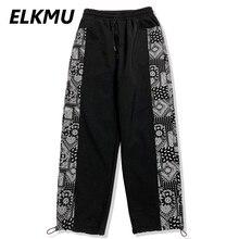 Bandana Side Patchwork Pant Sweatpants Men Streetwear Harajuku Fleece Pant Autumn Winter Trousers