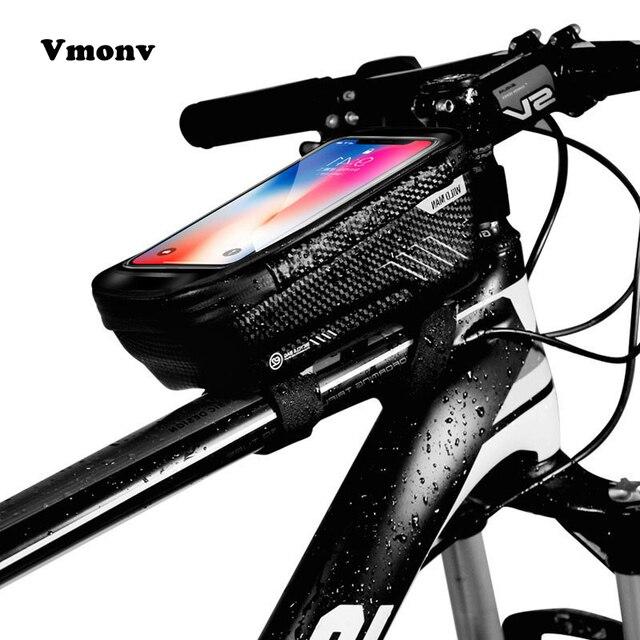 Vmonv אוניברסלי אופני תיק טלפון מחזיק עבור iPhone X XR Sansung S9 אטים לגשם עמיד למים MTB מול תיק 6.2 אינץ נייד טלפון בעל