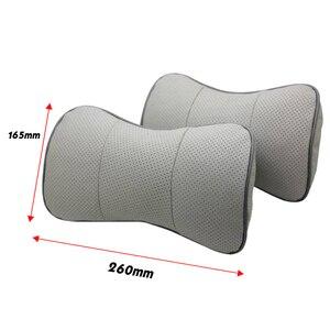 Image 2 - Car Neck Pillow Genuine Leather Seat Head rest Pillows Cushion For Renault BMW Toyota Nissan Volkswagen Mazda Hyundai Honda Kia