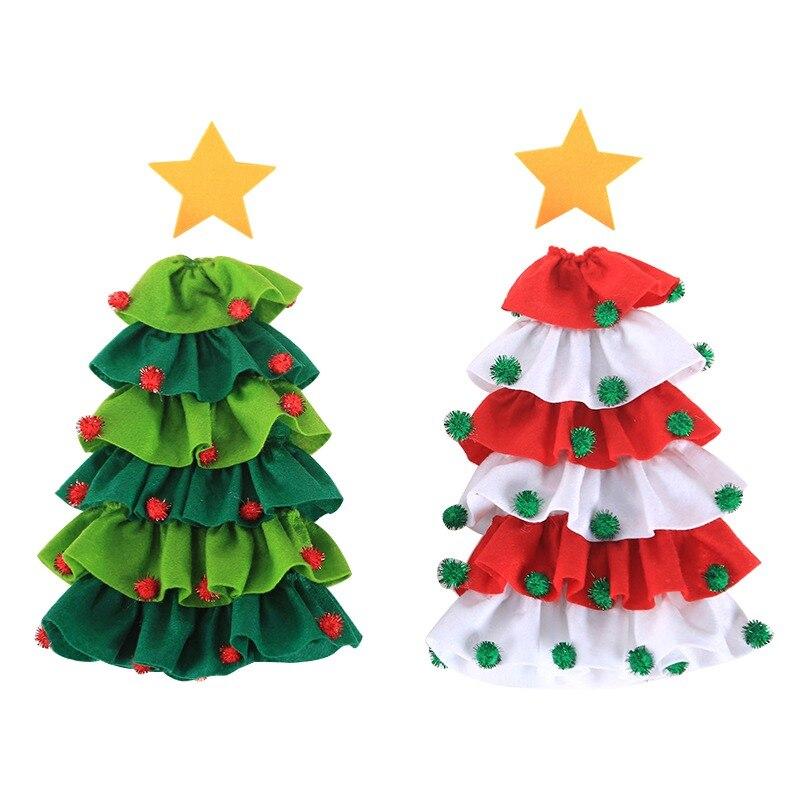 Дизайн елки крышка бутылки вина набор с помпонами рождественские вечерние украшения для обеденного стола