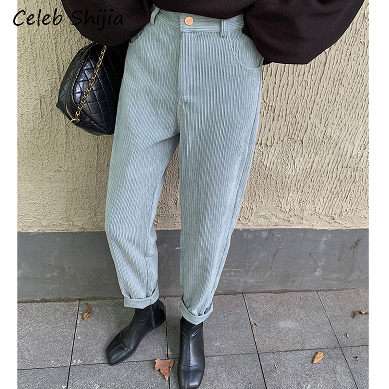 SHIJIA Autumn Winter Corduroys Harem Pants Woman Loose Casual Vintage High Waist Blue Chic Trousers Female 2019