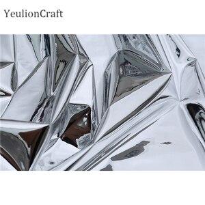 Image 4 - Chzimade 50x137cm prata reflexivo espelho pano roupas à prova dwaterproof água vestuário criativo dupla face espelho de prata tpu tecido