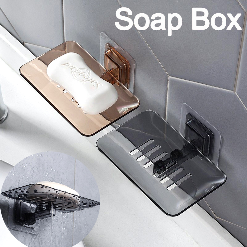 Bathroom Organizer Drain Soap Dishes Sponge Holder Wall Mounted Storage Rack Soap Box Kitchen Hanging Shelf Organizer