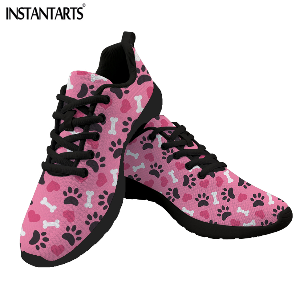 New INSTANTARTS Heart Dog Paw Printed Flat Shoes Women Casual Lace Up Sneakers Female Breath Mesh Women's Flats Zapatos de Mujer