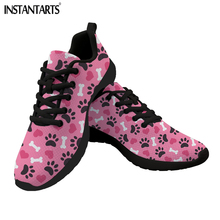Купить с кэшбэком INSTANTARTS Heart Dog Paw Printed Flat Shoes Women Casual Lace Up Sneakers Female Breath Mesh Women's Flats Zapatos de Mujer