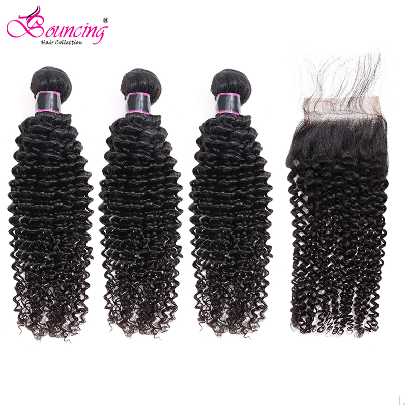 Bouncing Brazilian Kinky Curly Hair Weave With Lace Closure 4PCS/LOT 3Bundles With 4x4 Closure Natural Black Remy Human Hair