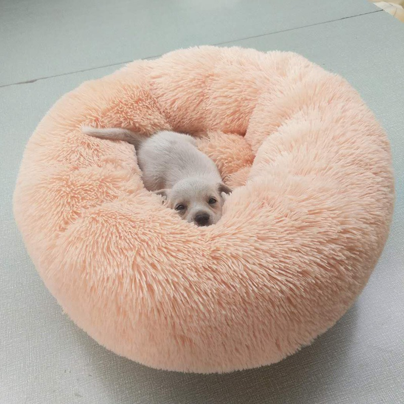 Image 5 - Panier Chat Round Washable Dog Bed Soft Cat House Pet Beds For Dogs House Cat Haustiere Chat Panier Long Plush Dog bed pet dog-in Houses, Kennels & Pens from Home & Garden