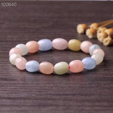 10mm Genuine Natural Colorful Morganite Beryl Round Beads Bracelet Oval Women Lady Stretch Crystal Best Gift Drop Shipping AAAAA genuine natural crystal rectangle beads colorful tourmaline stone fashion stretch bracelet women gift 9 6 4mm