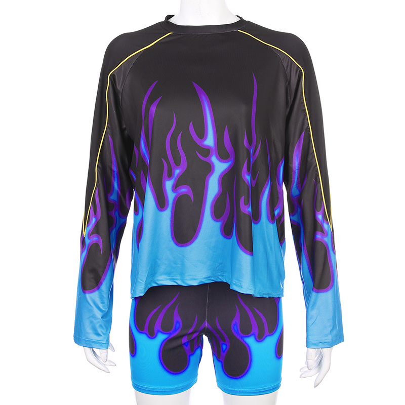 Sweetown Flaming Fire Print Two Piece Set Biker Shorts Set Casual Top And Shorts Activewear Tracksuit Women Workout Club Outfits 6