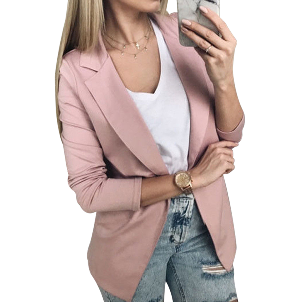 2019 News Fashion Women Casual Suit Coat Business Blazer Long Sleeve Jacket Outwear Ladies Black Pink Slim Blazer Coat