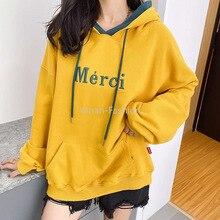 Yanan 2020 Women Casual Hoodied Pullover Autumn Winter Cotton Hoodies Sweatshirt Letter Mercy Haraju