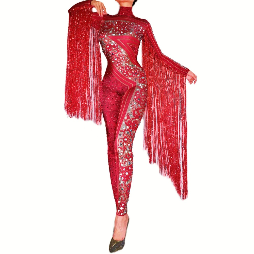 Shining Red Rhinestones Fringe Jumpsuit Birthday Celebrate Outfit Bar Dance Leggings Women Singer Dancer Outfit