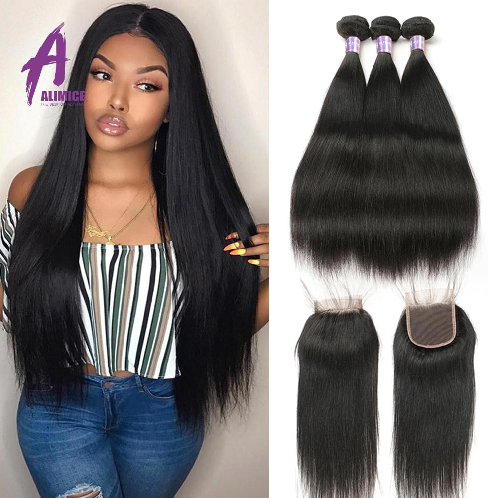 H9b48fa0614b345debf85bd216bf6bf5cA Alimice Indian Straight Human Hair Bundles With Closure 3 Bundles Hair Extensions With Closure Remy Lace Closure with Bundles