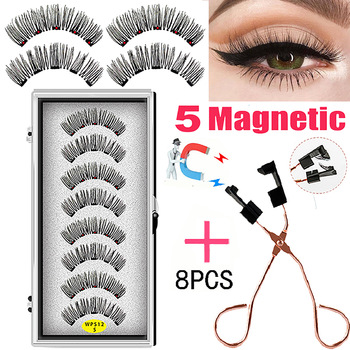 LEKOFO 4 Pairs 5 Magnet Magnetic False Eyelashes Handmade Mink Eye Lashes faux cils magnetique 3D Natural magnetic Lashes WSP 1