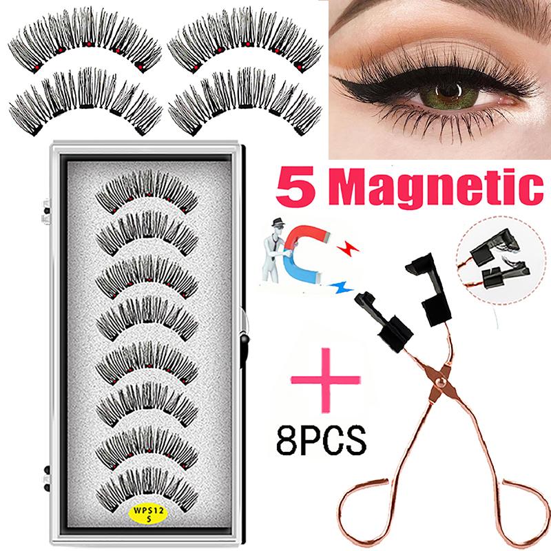 LEKOFO 4 Pairs 5 Magnet Magnetic False Eyelashes Handmade Mink Eye Lashes faux cils magnetique 3D Natural magnetic Lashes WSP