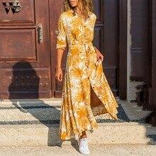 Womail-vestido largo informal de primavera para mujer, vestido largo con estampado de hojas de arce y manga larga, vendaje de botones en la cintura