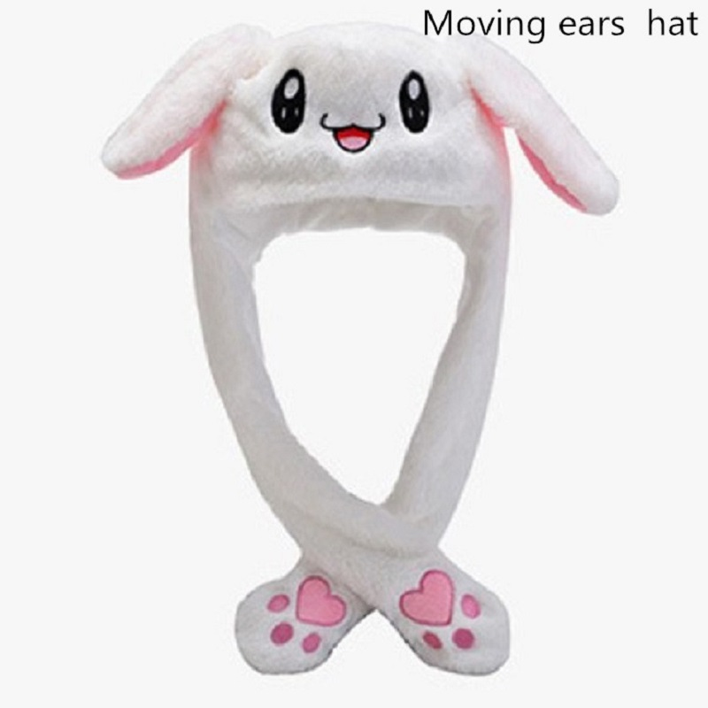 Cute Lovely Rabbit Ear Hat Can Move Airbag Magnet Cap Plush Gift Dance Intrested Toy Fashionable Handmade Casual Hats YL4