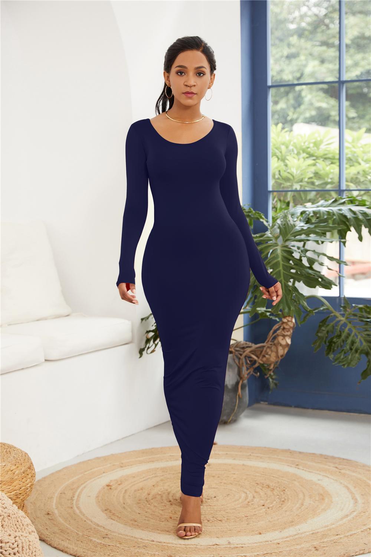 Ladies Sexy Vest Long Dress Fashion Long Sleeve Personality Dress Fashion Elastic Dress