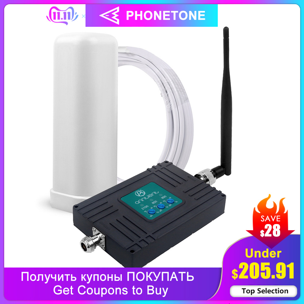 Powerful GSM Repeater 800/900/2100MHz GSM 3G Cellular LTE Signal Booster UMTS 900MHz Tri Band 4G Mini Mobile Phone Amplifier Set