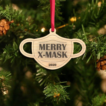 Wearing Mask Christmas Ornaments 2020 Badly But Merry Christmas Tree Decoration Christmas Decorations For Home Adornos Navideños image