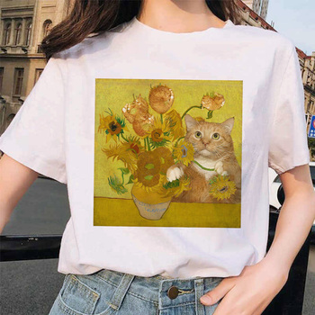 Van Gogh Cat Women T Shirt Art Oil Painting Checkered Print New Nice T-shirt Ladies Casual Harajuku Tee Funny Ulzzang Grunge doctor dr who daleks tardis medium t shirt tee shirt van gogh phone booth black 012290
