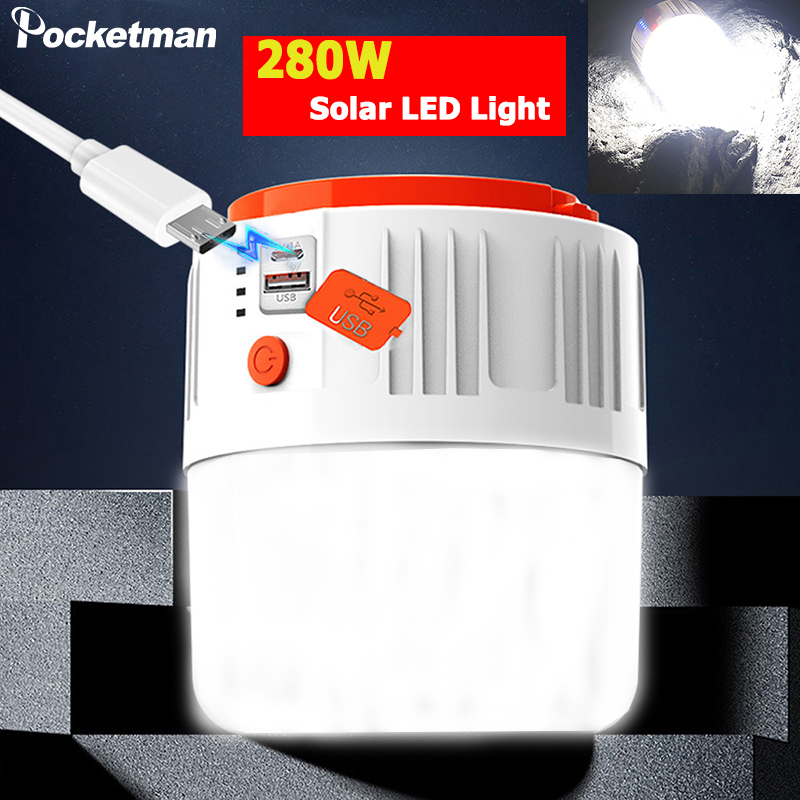 280W Super Helle LED Camping Licht Tragbare Solar Laterne USB Aufladbare Solar Licht Notfall Licht Outdoor Zelt Licht