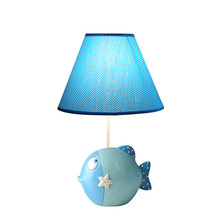 Modern Led Fabric Table Lamp Kids Bedroom Study Lights Living Room Aet Deco Lamps Luminaire Fixtures Fish Resin