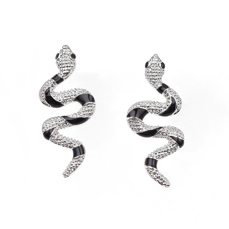 Schwarz Kleine metall Schlange Ohrringe für Frauen Schmuck Punk Gold Farbe Ohr Stud Handmade Strass Frauen Stud Ohrringe Mädchen Geschenk